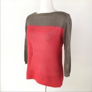 Apt. 9 colorblock coral gray sweater open weave XS